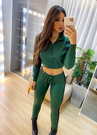 Conjunto feminino calça com cropped