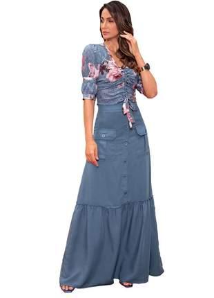 Conjunto saia e blusa feminino fascínius moda evangélica