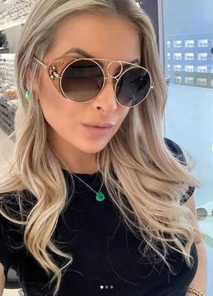 Óculos de sol feminino sierra 148 sl 825 metal e couro