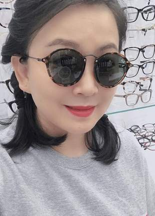 Óculos de sol round marrom em acetato linda
