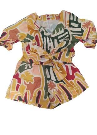 Conjunto feminino shorts e blusa curta viscolinho estampado summer flash