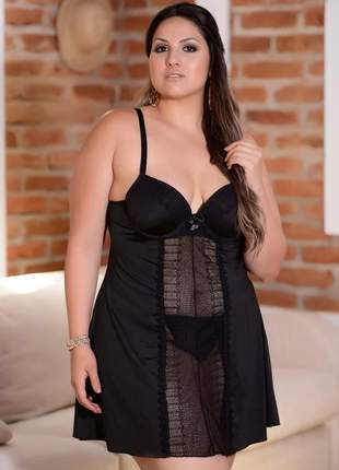 Camisola plus size com renda na frente e costa