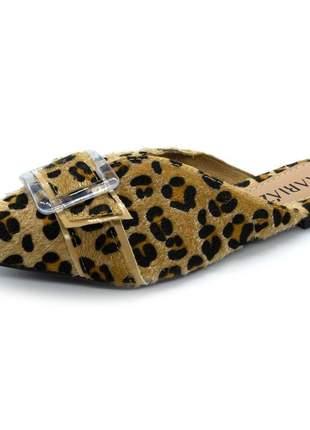 Mule sandalia animal print onça fivela confort