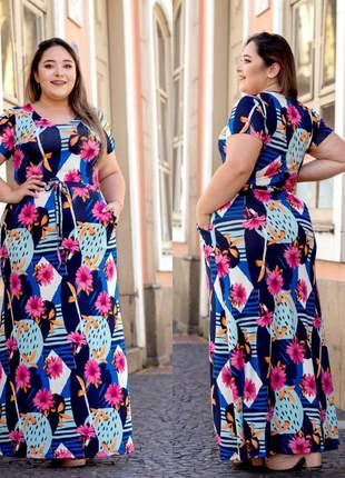Vestido plus size estampado longo florido com ajuste na cintura manga curta viscolycra