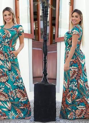 Vestido longo estampado florido soltinho casual manga curta