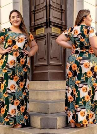 Vestido longo estampado plus size florido manga curta com ajuste na cintura
