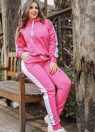 Conjunto pink faixa lateral branca moletom flanelado com touca e bolsos
