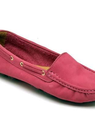 Mocassim feminino drive casual confortavel em couro 14000 fuscia rosa