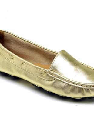 Mocassim feminino drive casual confortavel em couro 14000 ouro