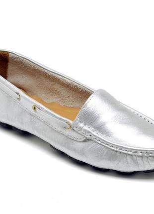 Mocassim feminino drive casual confortavel em couro 14000 prata