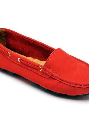 Mocassim feminino drive casual confortavel em couro 14000 vermelho