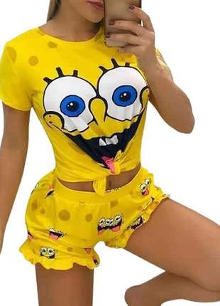 Pijama personagens bob esponja