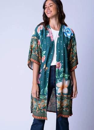 Kimono alongado estampa margaery