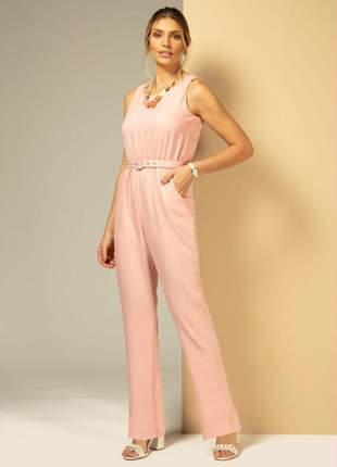 Macacão feminino liziah com bolsos funcionais rosê quintess