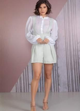 Conjunto feminino colmeia blusa manga longa e short com alça