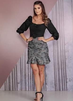 Vestido feminino colmeia bicolor de manga longa com cinto