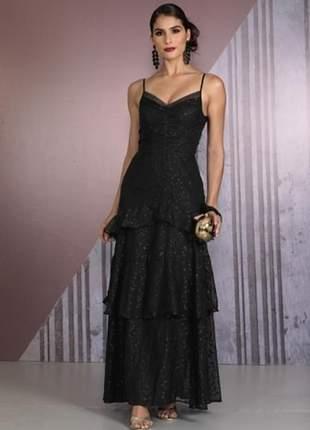 Vestido feminino colmeia longo de tule com detalhe de viés