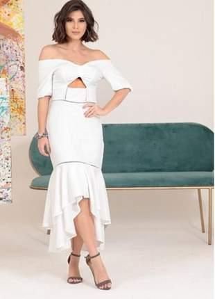 Vestido feminino colmeia com babado duplo midi longo mullet