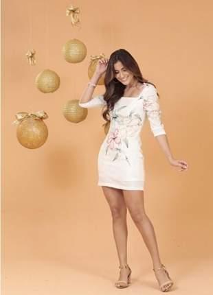 Vestido feminino colmeia bordado florido com mangas bufantes