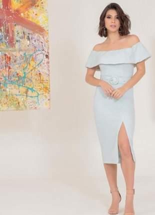 Vestido feminino colmeia ombro a ombro babado midi com cinto