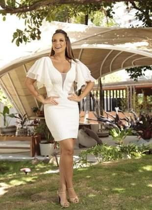Vestido feminino colmeia curto com mangas amplas em tule