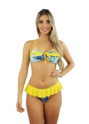 Biquíni feminino andros loach amarelo estampado