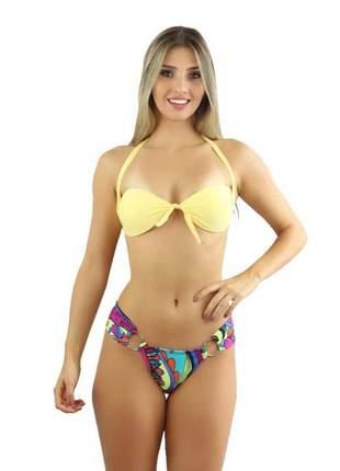 Biquíni feminino muna cubic amarelo estampa liso