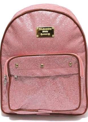 Mochila feminina pequena corino rosê fashion brilhos
