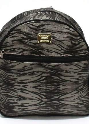 Mochila feminina pequena corino estampa zebra fashion