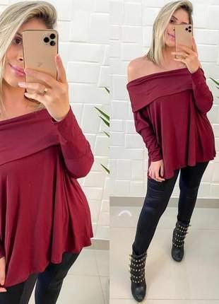 Blusa feminina manga longa ombro a ombro charmosa outono inverno