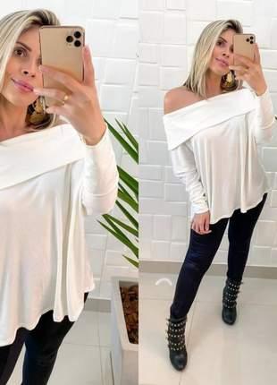 Blusa blusinha ombro a ombro decote  manga longa versátil