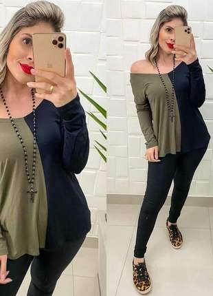 Blusa blusinha bata feminina manga longa meio a meio bicolor