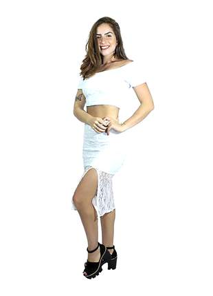 Conjunto feminina saia com fenda e cropped renda charmosa pronta entrega