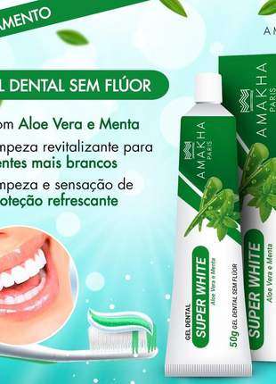 2 gel dental super white aloe vera e menta sem flúor 50g