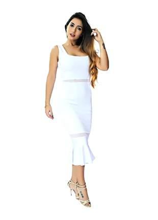 Vestido feminino midi peplum com tulê moda festa elegante pronta entrega