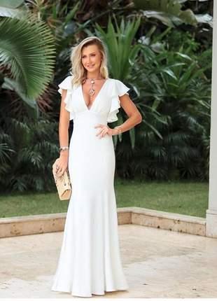 Vestido casamento cartório civil noiva offwhite longo moda festa manguinha senhoras