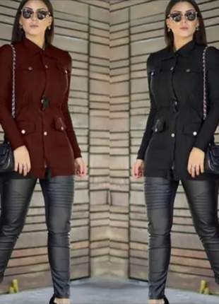 Conjunto jaqueta parka bengaline e calça couro sintético naya