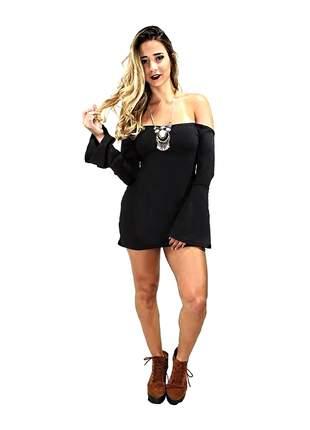 Vestido feminino curto ombro a ombro manga longa flare pronta entrega