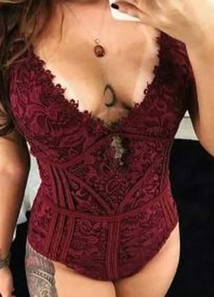 Body blusa feminina rendado decote alça marina bojo vinho