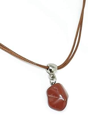 Colar curto com pedra natural de jaspe vermelho