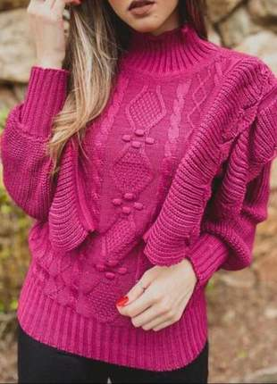 Blusa tricot babado
