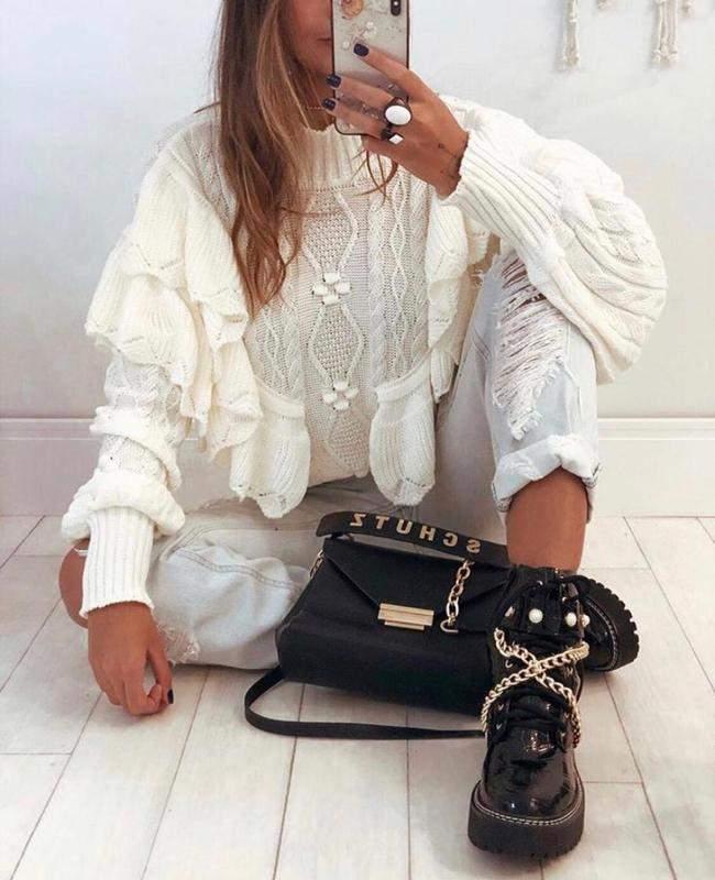 Mariah Chic / Blusa babado tricot