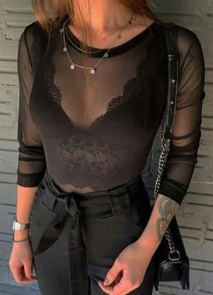 Body feminino tule manga longa preto