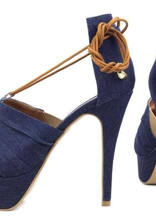 eaa28b20f Sandália feminina salto alto fino meia pata festas azul jeans - R ...