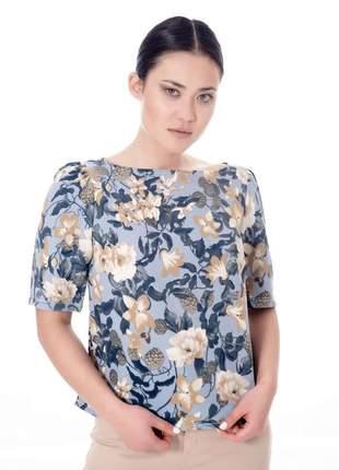 Blusa manga bufante floral