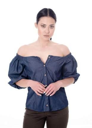 Blusa manga bufante jeans
