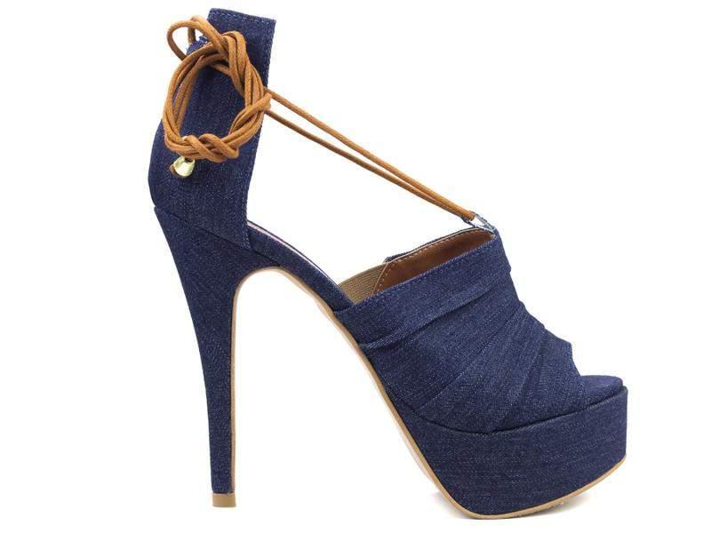 371b0e89a5 Sandália feminina salto alto fino meia pata festas azul jeans - R ...