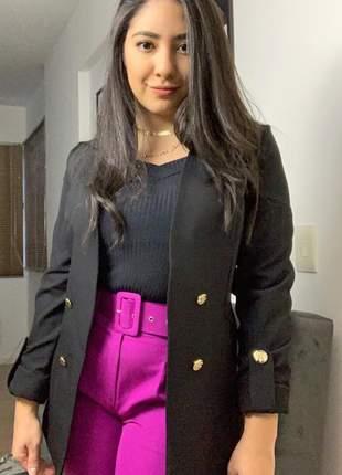 Blazer feminino social alongado manga longa botões dourados preto