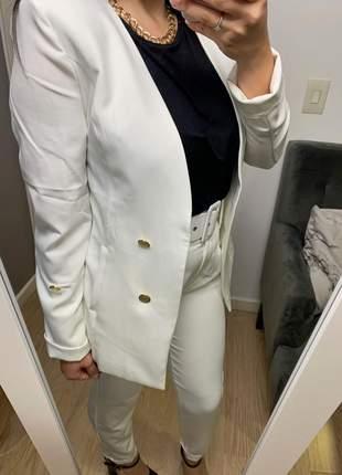 Blazer social alongado manga longa botões dourados branco frete grátis