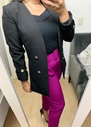 Blazer social alongado manga longa botões dourados preto frete grátis